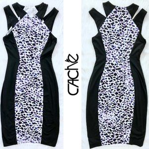 CACHE fitted dress with animal print size 0